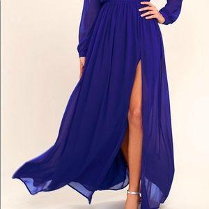 Royal blue floor length gown
